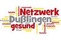 Logo der Gesundheitsförderung mit vielen unterschiedlich großen Begriffen in den Farben rot, grau und gelb