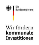 Logo der Bundesregierung mit dem Adler-Symbol und dem Schriftzug Wir fördern kommunale Investitionen
