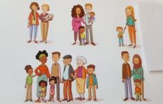 Eine Zeichnung mit verschiedenen Personen/Gruppen